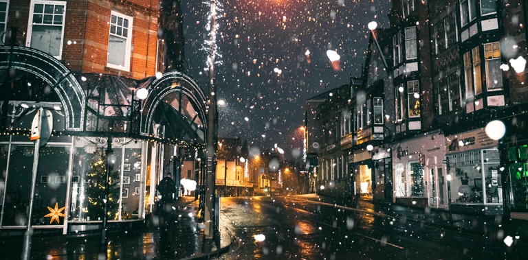 Snowy street in the UK in December